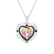 4 Stone Custom Birthstone Silver Photo Heart Locket