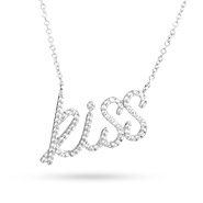 Tiffany Inspired Sterling Silver CZ Kiss Necklace