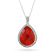 Genuine Red Carnelian Quartz Sterling Silver CZ Peardrop Pendant