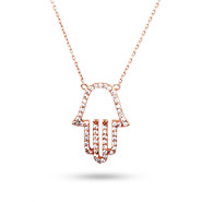 Rose Gold CZ Hamsa Necklace