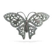 Sterling Silver Butterfly Pin with Diamond CZ Wings