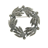 Sterling Silver and Marcasite Wreath Brooch