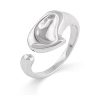Tiffany Style Carved Heart Sterling Silver Ring