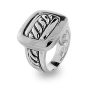 Designer Inspired Sterling Silver Buckle Cable Ring