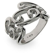Elegant Sterling Silver Antique Scroll Ring