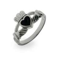 Sterling Silver Black Onyx Claddagh Ring