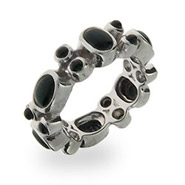 Sterling Silver Black Onyx Stackable Band