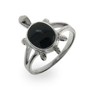 Sterling Silver Onyx Turtle Ring