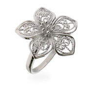 Vintage Style Sterling Silver Filigree Flower Ring