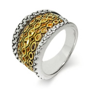 Designer Style Etched Gold Wide Band Sterling Silver Ring