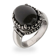 Sterling Silver and Onyx Bali Style Ring