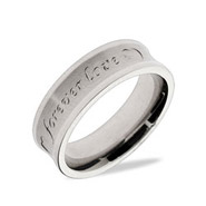 Forever Love Matte Finish Stainless Steel Wedding Band