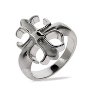 Sterling Silver Fleur de Lis Cross Ring