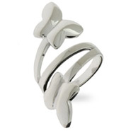 Contemporary Style Sterling Silver Butterfly Wrap Ring