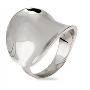 Contemporary Style Wide Concave Sterling Silver Ring
