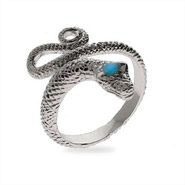Shimmering Diamond Cut Sterling Silver Snake Ring