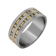 Men's Gold Beaded Double Row Stainless Steel Band