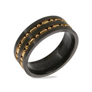 Mens Gold Beaded Double Row Black Plate Stainless Steel Band