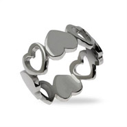 Alternating Band of Sterling Silver Hearts Ring