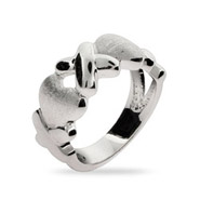 Sterling Silver Hugs and Kisses Ring
