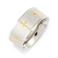 Gold Cross Stainless Steel Engravable Message Band