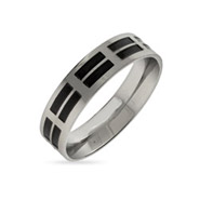 Men's Double Black Inlay Stainless Steel Band