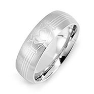 Men's Stainless Steel Claddagh Message Band