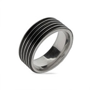 Men's Black Ribbed Stainless Steel Message Band