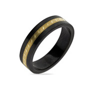 Engravable Black Plate Golden Message Band