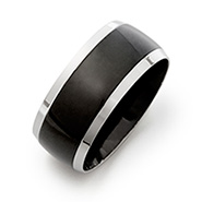 Men's Black Plate Steel Lined Engravable Band