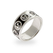 Sterling Silver Engravable Yin Yang Band