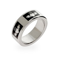 Engravable Black Enamel Stainless Steel Claddagh Band