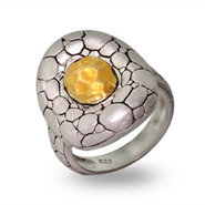 Designer Style Matte Finish Hammered Gold Oval Bali Ring
