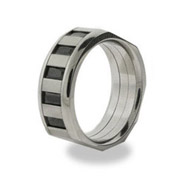 Mens Metro Style Stainless Steel Ring with Onyx Baguettes
