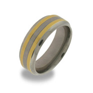 Titanium Mens Wedding Ring with Double Gold Inlay