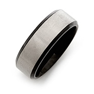 Mens Black Titanium Band with Brushed Silver