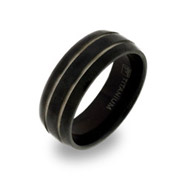 Mens Black Titanium Ring with Double Silver Stripe