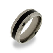 Mens Titanium Message Band with Black Inlay