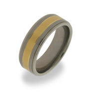 Mens Titanium Wedding Band with Gold Inlay