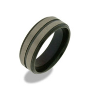 Mens Triple Black Stripe Titanium Ring