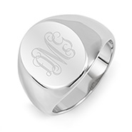 Mens Oval Cut Stainless Steel Signet Ring
