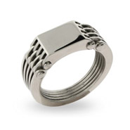 Mens Stainless Steel Ribbed Band Signet Ring