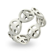 Sterling Silver Peace Sign Band