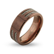 Wide Rose Gold Mens Engravable Titanium Signet Ring with Double Cable Inlay