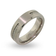 Mens Engravable Titanium Signet Ring with Single Cable Inlay