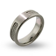 Mens Engravable Titanium Signet Ring with Double Cable Inlay