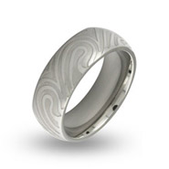Mens Stainless Steel Mokume Gane Swirl Ring