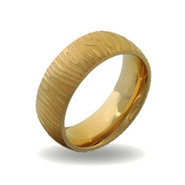 Mens Gold Plate Stainless Steel Mokume Gane Striped Ring
