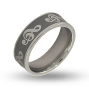 Musical G Clef Engravable Band