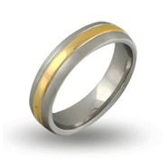 Mens Single Gold Striple Engravable Band